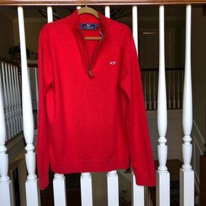 Vineyard Vines 1/4 Zip Red Cotton Sweater